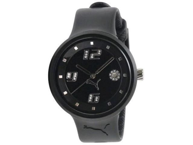 Puma Women's MOTOR PU910672001 Black Polyurethane Quartz Watch with Black Dial