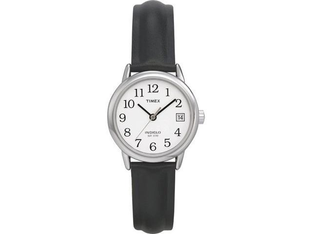 Timex Women's T2H331 Black Leather Quartz Watch with White Dial