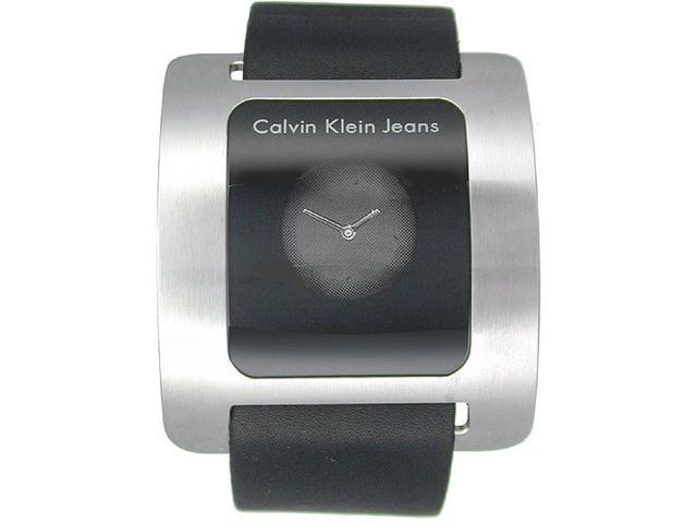 Calvin Klein Women's K3715330 Black Leather Swiss Quartz Watch with Black Dial