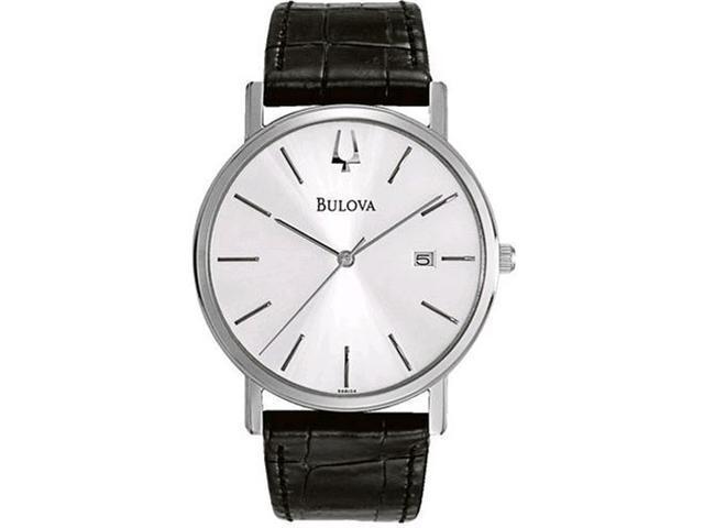 Bulova 96B104 Silver-Tone Dial / Black Leather Men's Watch