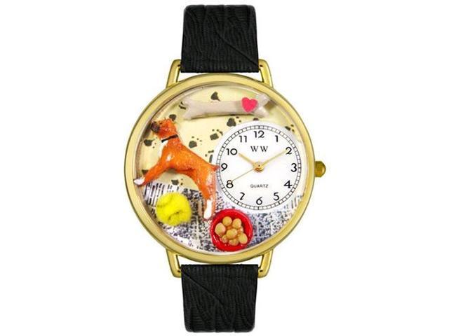 Boxer Black Skin Leather And Goldtone Watch #G0130014