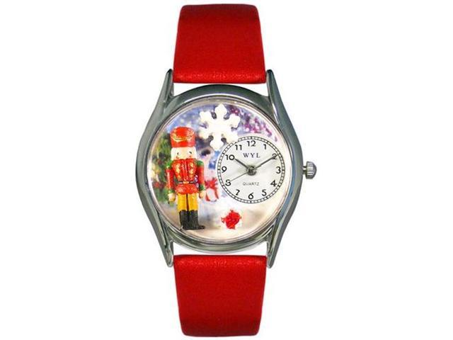 Christmas Nutcracker Red Leather And Silvertone Watch #S1220007