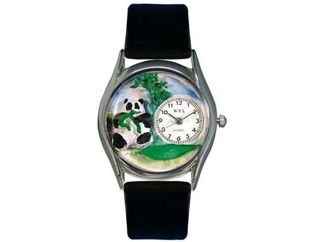Panda Bear Black Leather And Silvertone Watch #S0150001
