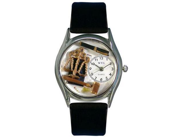 Lawyer Black Leather And Silvertone Watch #S0620002