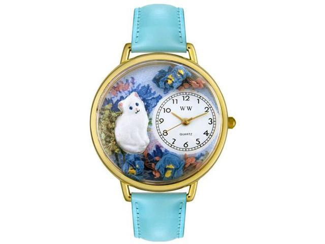 White Cat Baby Blue Leather And Goldtone Watch #G0120014