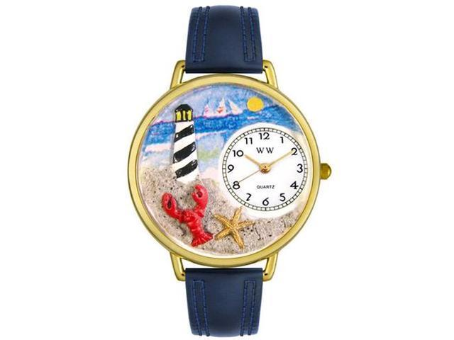 Lighthouse Navy Blue Leather And Goldtone Watch #G1210013