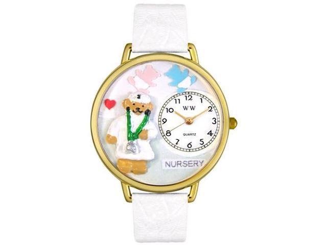 Nurse Teddy Bear White Leather And Goldtone Watch #G0230005