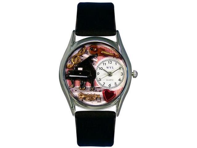 Music Teacher Black Leather And Silvertone Watch #S0640014