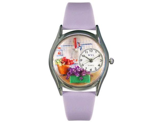 Gardening Lavender Leather And Silvertone Watch #S1211001
