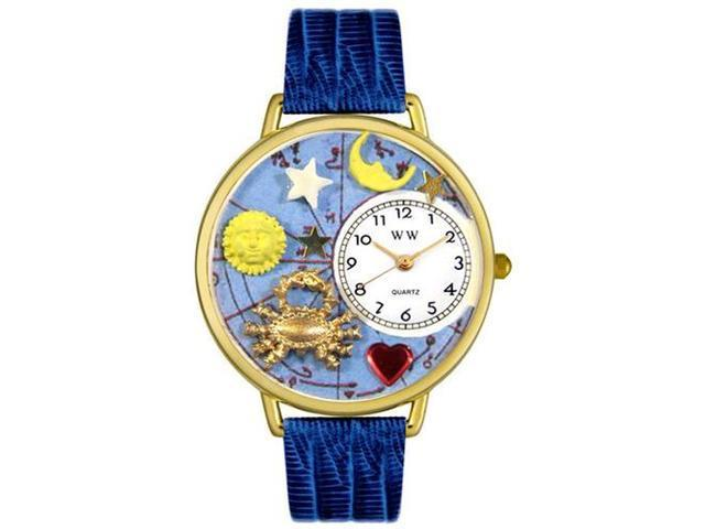Cancer Royal Blue Leather And Goldtone Watch #G1810004