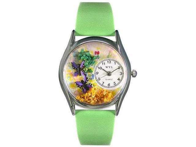 Butterflies Green Leather And Silvertone Watch #S1210001
