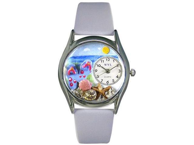 Flip-flops bay Blue Leather And Silvertone Watch #S1210013