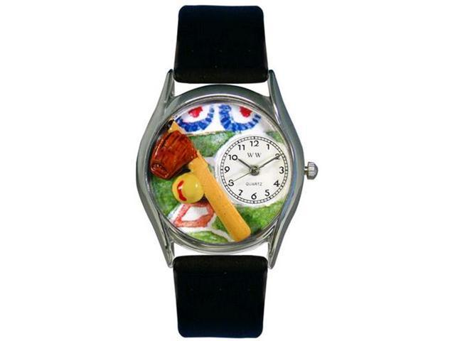 Softball Black Skin Leather And Silvertone Watch #S0820023
