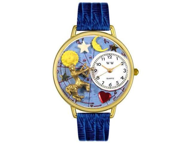 Sagittarius Royal Blue Leather And Goldtone Watch #G1810010