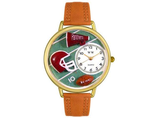 Football Tan Leather And Goldtone Watch #G0820008