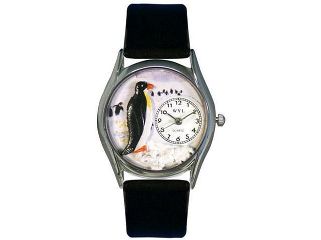 Penguin Black Leather And Silvertone Watch #S0140010