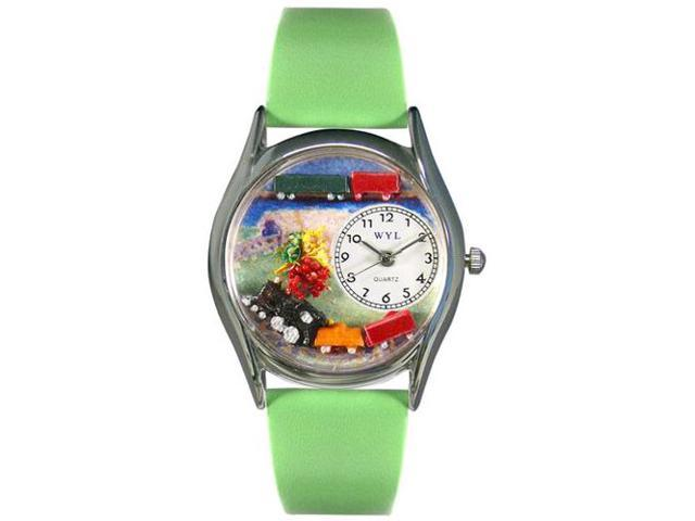 Trains Green Leather And Silvertone Watch #S1610001