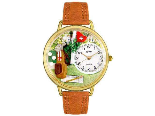 Golf Bag Tan Leather And Goldtone Watch #G0810002