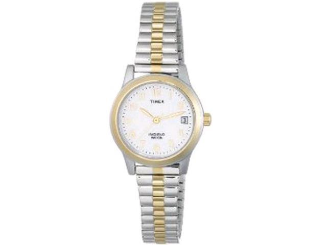 Timex Women's T2M828 Silver Stainless-Steel Analog Quartz Watch with Mother-Of-Pearl Dial