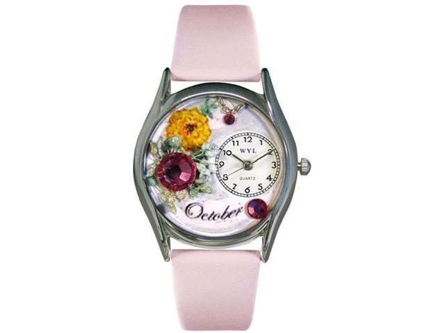 Birthstone: October Pink Leather And Silvertone Watch #S0910010