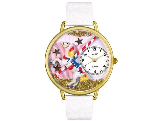 Carousel White Leather And Goldtone Watch #G0420003