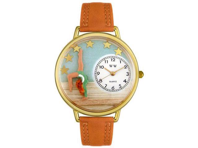 Gymnastics Tan Leather And Goldtone Watch #G0810014
