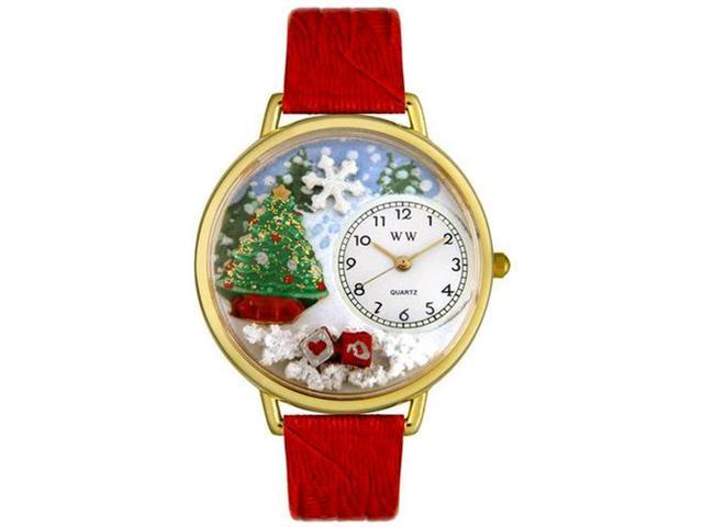 Christmas Tree Red Leather And Goldtone Watch #G1220002