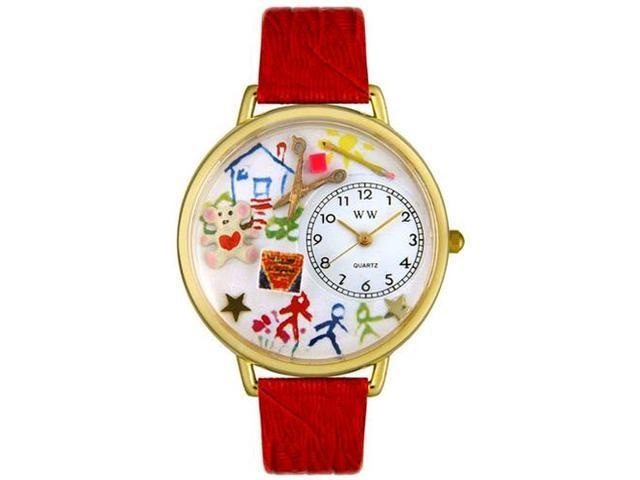 Preschool Teacher Red Leather And Goldtone Watch #G0640003