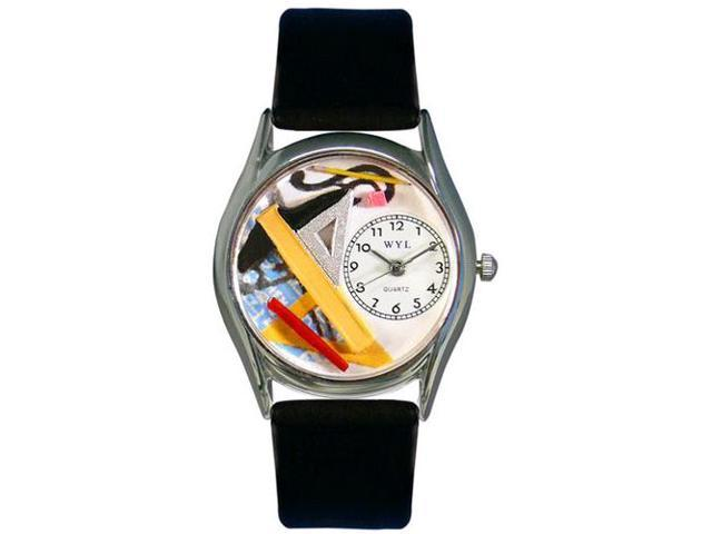 Architect Black Leather And Silvertone Watch #S0620008