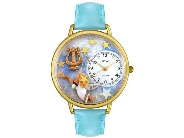 Angel with Harp Baby Blue Leather And Goldtone Watch #G0710004