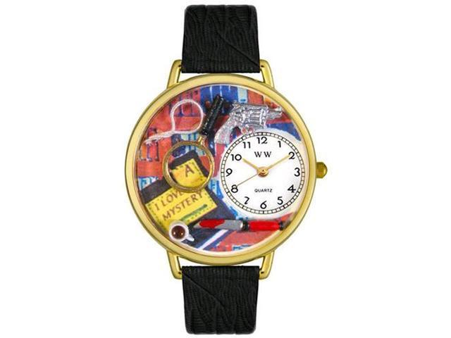 Mystery Lover Black Skin Leather And Goldtone Watch #G0460002