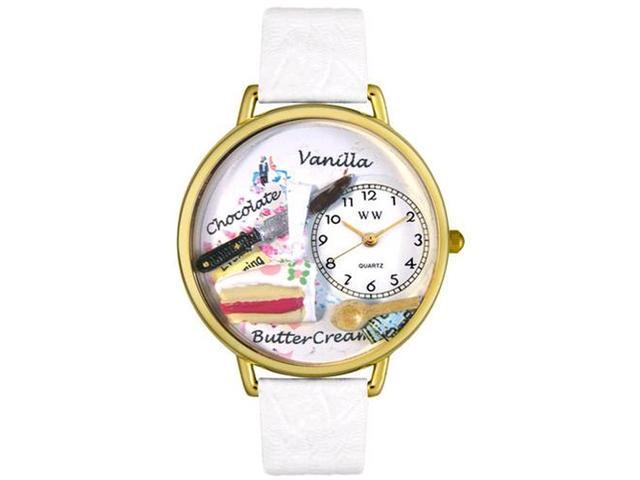 Pastries White Leather And Goldtone Watch #G0310012