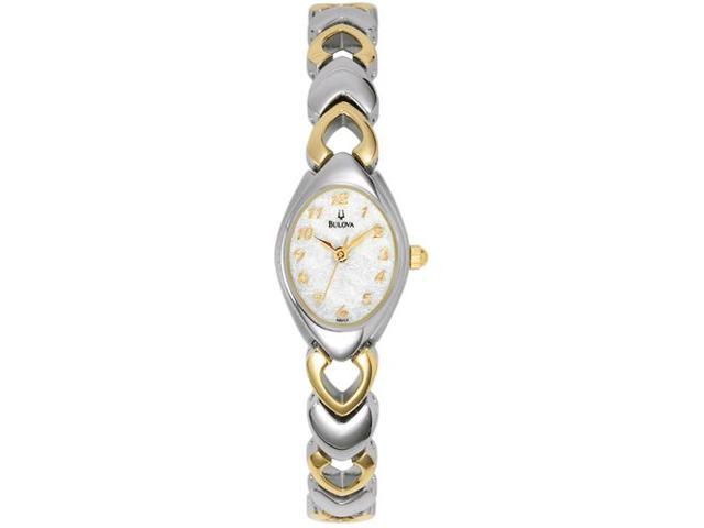 Bulova Women's 98V02 Silver Stainless-Steel Quartz Watch with Mother-Of-Pearl Dial