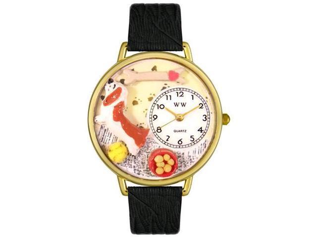 Basset Hound Black Skin Leather And Goldtone Watch #G0130078