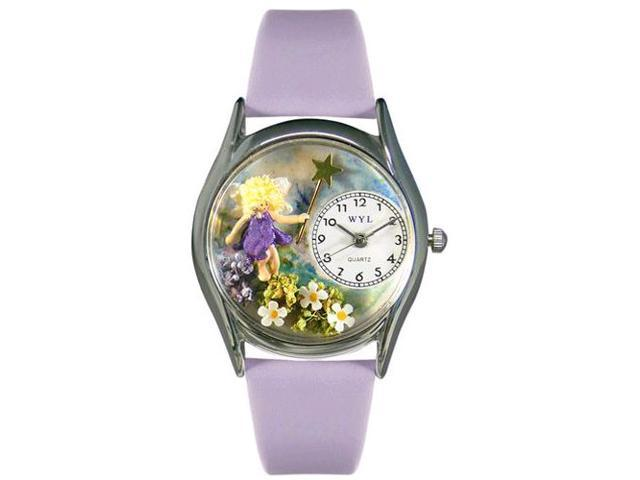 Fairy Lavender Leather And Silvertone Watch #S0220002