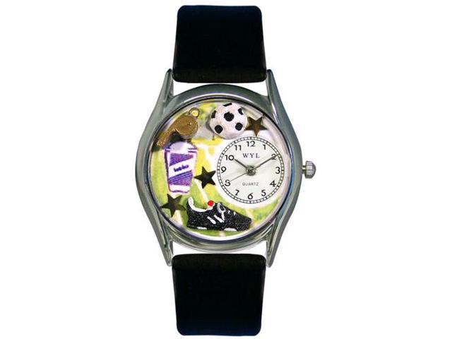 Soccer Black Leather And Silvertone Watch #S0820020