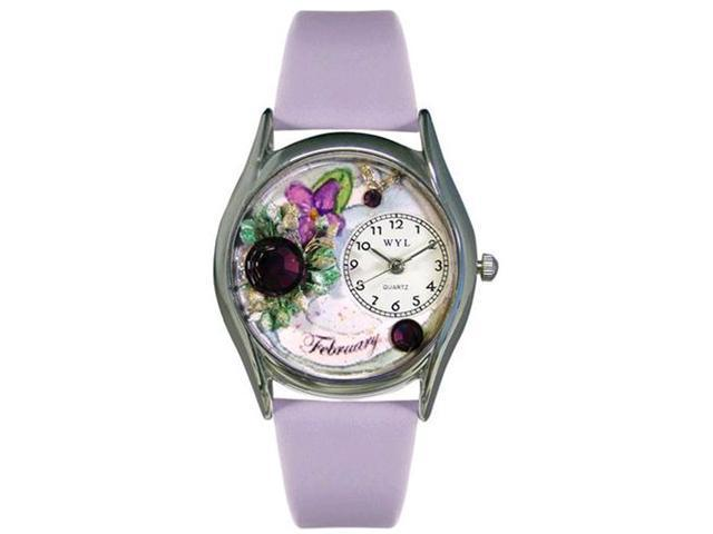 Birthstone: February Purple Leather And Silvertone Watch #S0910002