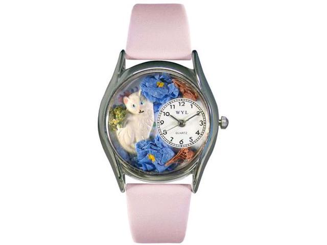 White Cat Pink Leather And Silvertone Watch #S0120002