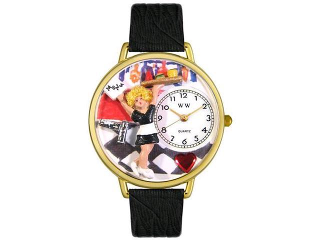Waitress Black Skin Leather And Goldtone Watch #G0630004