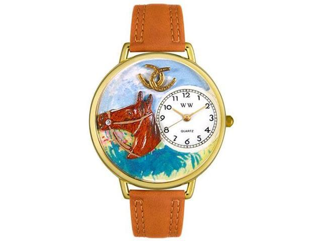 Horse Head Tan Leather And Goldtone Watch #G0110005