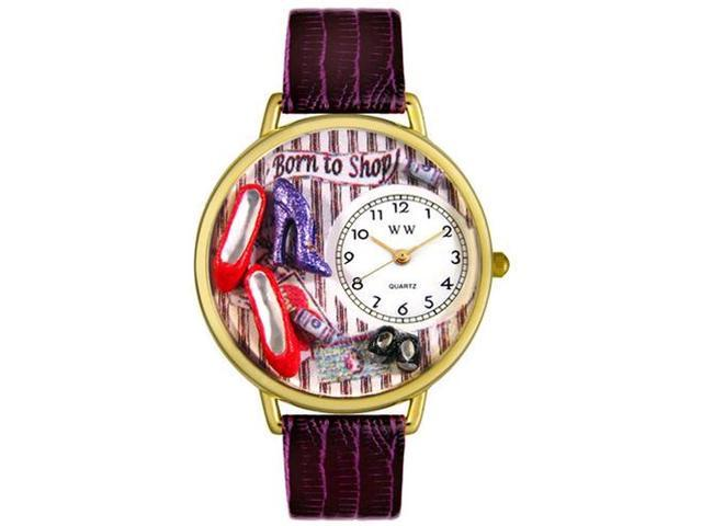 Shoe Shopper Purple Leather And Goldtone Watch #G1010005