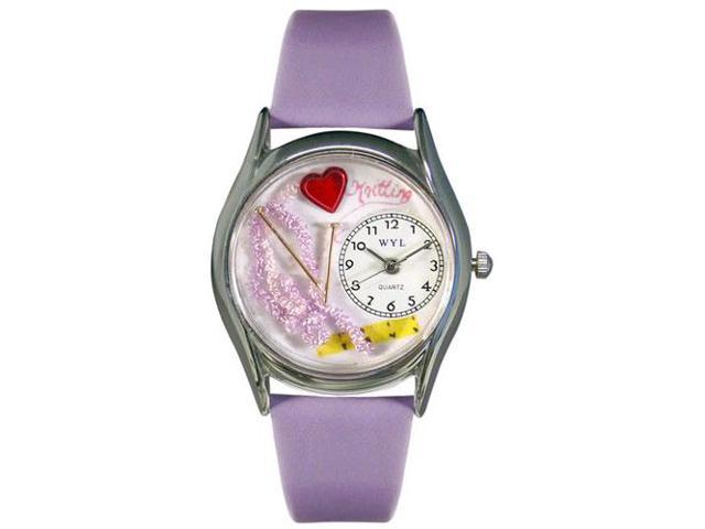 Knitting Lavender Leather And Silvertone Watch #S0440003