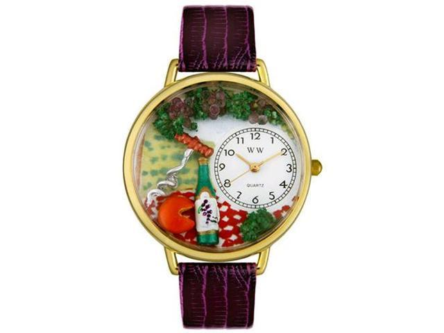 Wine & Cheese Purple Leather And Goldtone Watch #G0310010