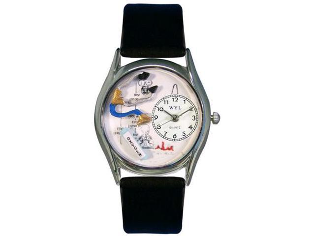 Respiratory Therapist Black Leather And Silvertone Watch #S0610018