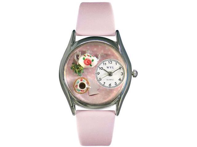 Tea Roses Pink Leather And Silvertone Watch #S0310003