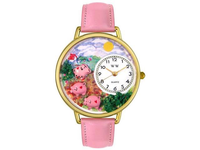 Pigs Pink Leather And Goldtone Watch #G0110003
