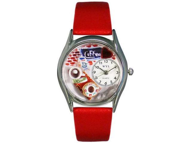 Coffee Lover Red Leather And Silvertone Watch #S0310011
