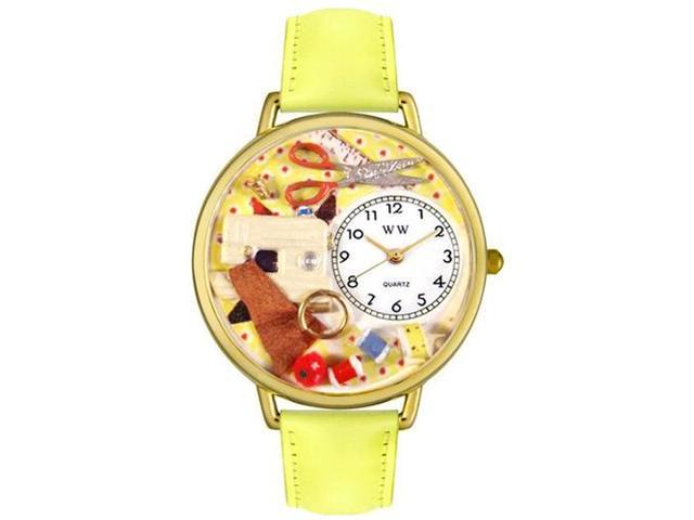 Sewing Yellow Leather And Goldtone Watch #G0450001