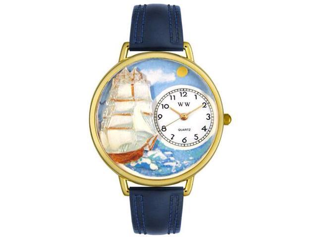 Sailing Navy Blue Leather And Goldtone Watch #G0810001