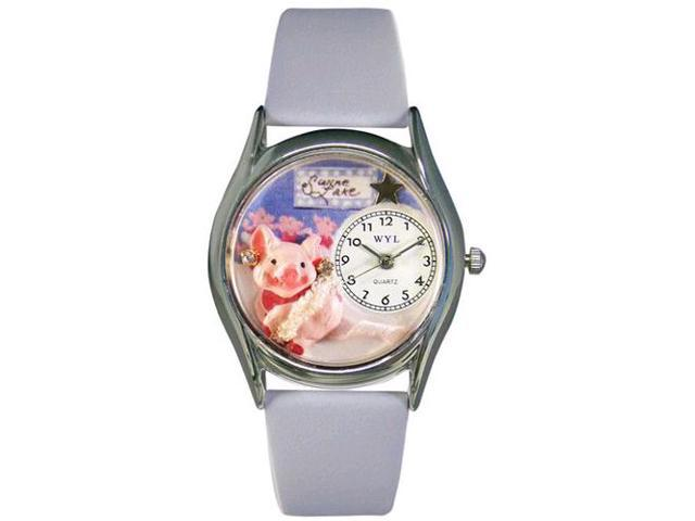 Swine Lake Baby Blue Leather And Silvertone Watch #S0520008